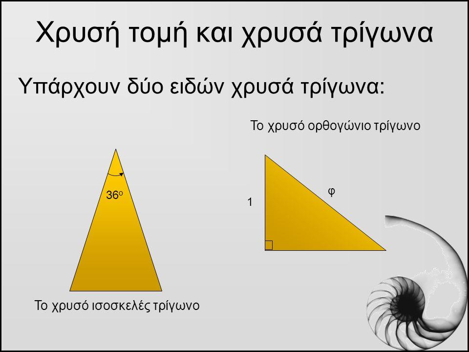 Χρυσή τομή και χρυσά τρίγωνα Υπάρχουν δύο ειδών χρυσά τρίγωνα: Το χρυσό ισοσκελές τρίγωνο Το χρυσό ορθογώνιο τρίγωνο 36 ο 1 φ