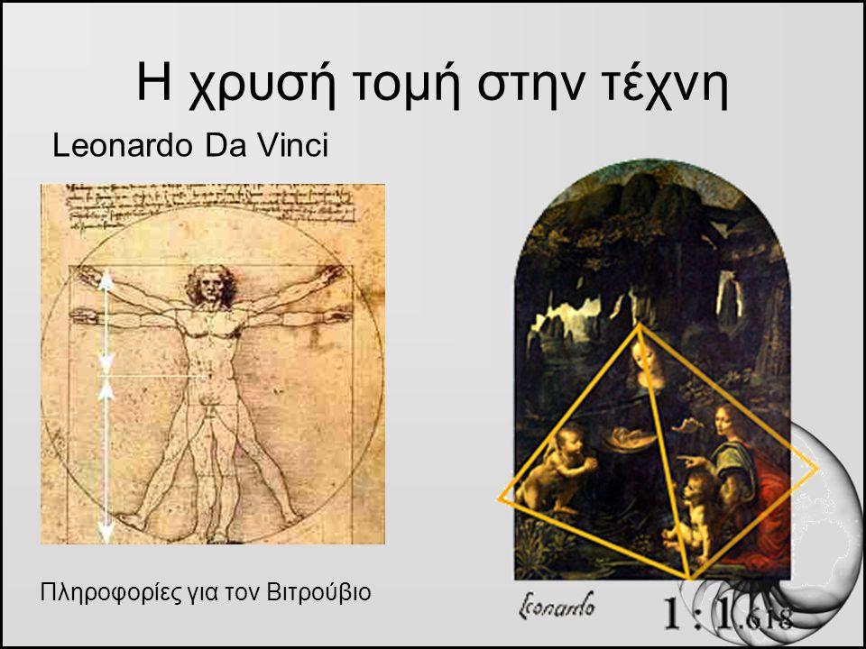 Η χρυσή τομή στην τέχνη Leonardo Da Vinci Πληροφορίες για τον Βιτρούβιο