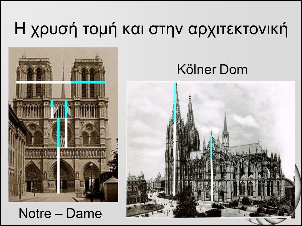 Η χρυσή τομή και στην αρχιτεκτονική Kölner Dom Notre – Dame