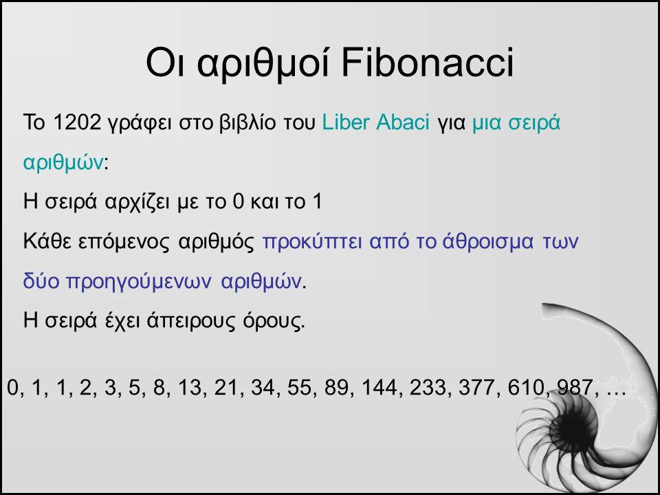 Οι αριθμοί Fibonacci Το 1202 γράφει στο βιβλίο του Liber Abaci για μια σειρά αριθμών: Η σειρά αρχίζει με το 0 και το 1 Κάθε επόμενος αριθμός προκύπτει