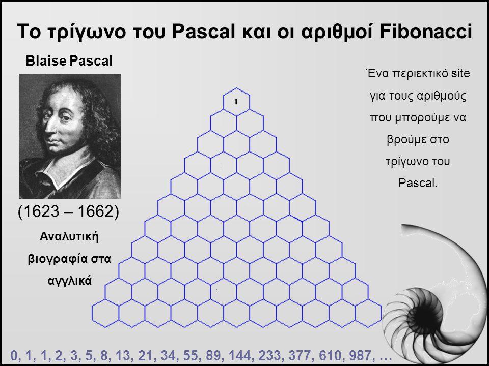 Το τρίγωνο του Pascal και οι αριθμοί Fibonacci (1623 – 1662) 0, 1, 1, 2, 3, 5, 8, 13, 21, 34, 55, 89, 144, 233, 377, 610, 987, … Blaise Pascal Αναλυτι