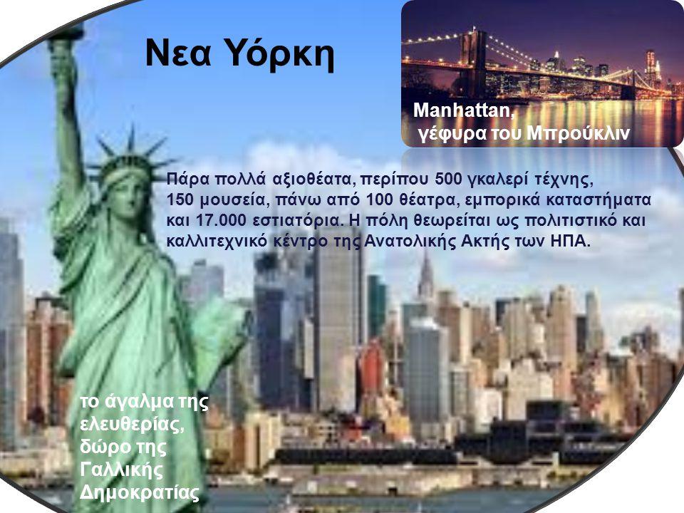NEW YORK Πάρα πολλά αξιοθέατα, περίπου 500 γκαλερί τέχνης, 150 μουσεία, πάνω από 100 θέατρα, εμπορικά καταστήματα και 17.000 εστιατόρια. Η πόλη θεωρεί