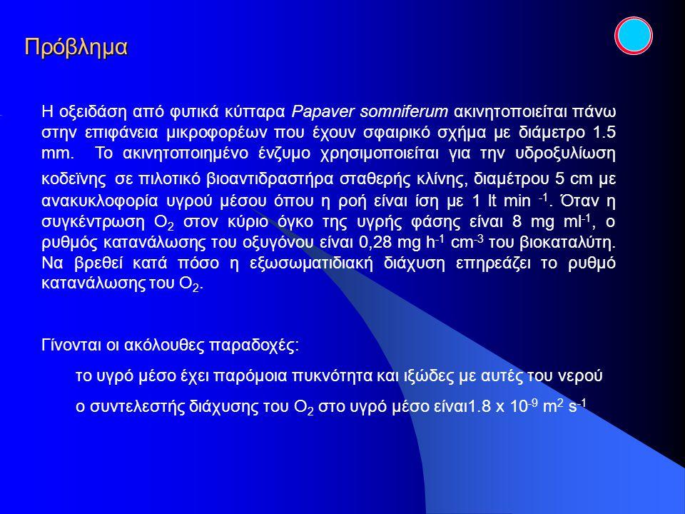 Πρόβλημα Η οξειδάση από φυτικά κύτταρα Papaver somniferum ακινητοποιείται πάνω στην επιφάνεια μικροφορέων που έχουν σφαιρικό σχήμα με διάμετρο 1.5 mm.