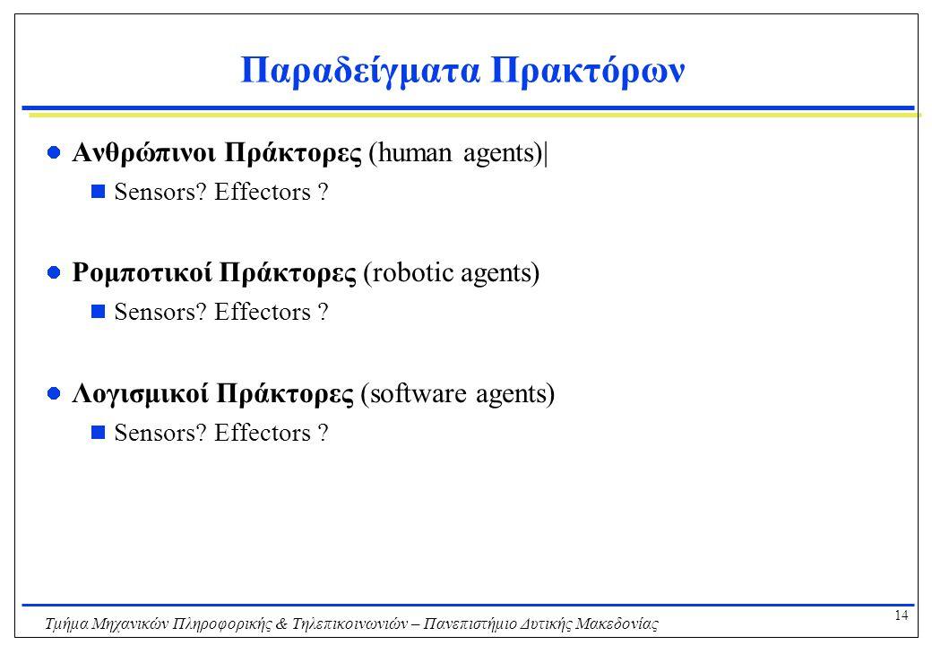 14 Τμήμα Μηχανικών Πληροφορικής & Τηλεπικοινωνιών – Πανεπιστήμιο Δυτικής Μακεδονίας Παραδείγματα Πρακτόρων Ανθρώπινοι Πράκτορες (human agents)|  Sens