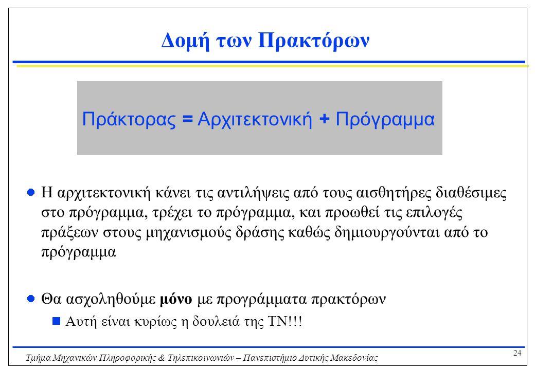 24 Τμήμα Μηχανικών Πληροφορικής & Τηλεπικοινωνιών – Πανεπιστήμιο Δυτικής Μακεδονίας Δομή των Πρακτόρων Η αρχιτεκτονική κάνει τις αντιλήψεις από τους α