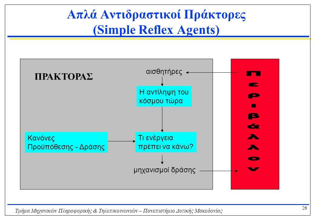 26 Τμήμα Μηχανικών Πληροφορικής & Τηλεπικοινωνιών – Πανεπιστήμιο Δυτικής Μακεδονίας Απλά Αντιδραστικοί Πράκτορες (Simple Reflex Agents) Η αντίληψη του