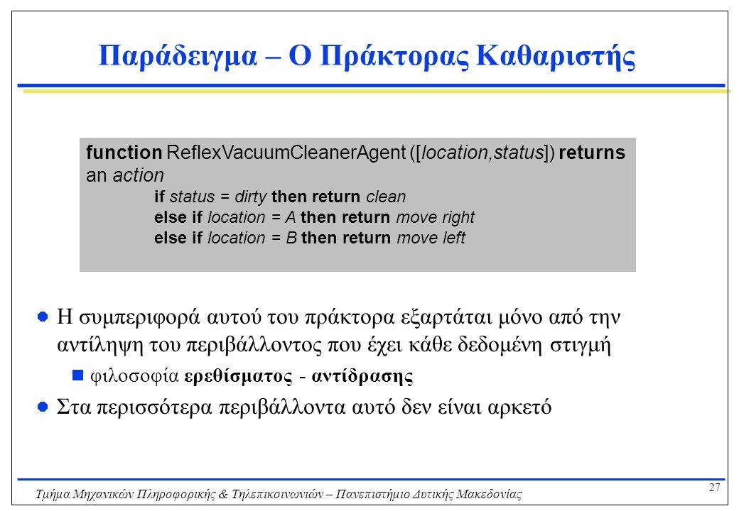 27 Τμήμα Μηχανικών Πληροφορικής & Τηλεπικοινωνιών – Πανεπιστήμιο Δυτικής Μακεδονίας Παράδειγμα – Ο Πράκτορας Καθαριστής Η συμπεριφορά αυτού του πράκτο