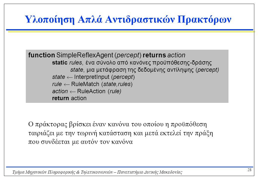 28 Τμήμα Μηχανικών Πληροφορικής & Τηλεπικοινωνιών – Πανεπιστήμιο Δυτικής Μακεδονίας Υλοποίηση Απλά Αντιδραστικών Πρακτόρων function SimpleReflexAgent