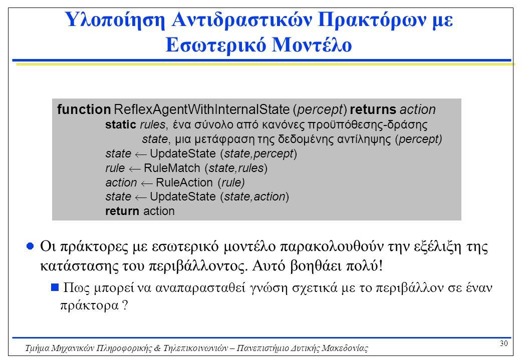 30 Τμήμα Μηχανικών Πληροφορικής & Τηλεπικοινωνιών – Πανεπιστήμιο Δυτικής Μακεδονίας Υλοποίηση Αντιδραστικών Πρακτόρων με Εσωτερικό Μοντέλο Οι πράκτορε