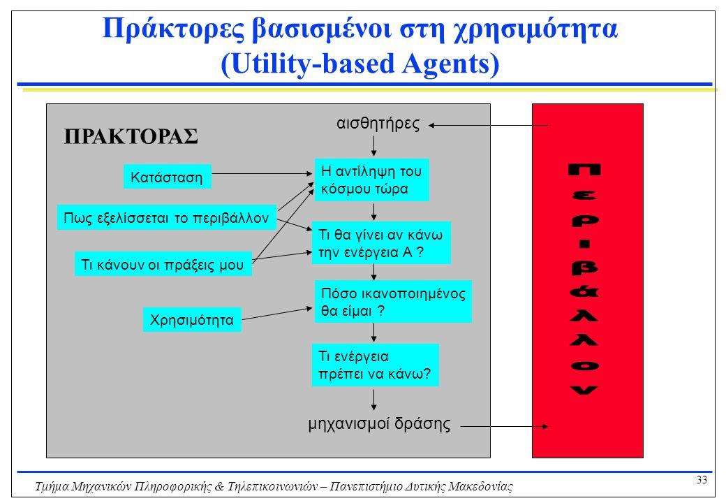 33 Τμήμα Μηχανικών Πληροφορικής & Τηλεπικοινωνιών – Πανεπιστήμιο Δυτικής Μακεδονίας Πράκτορες βασισμένοι στη χρησιμότητα (Utility-based Agents) Η αντί