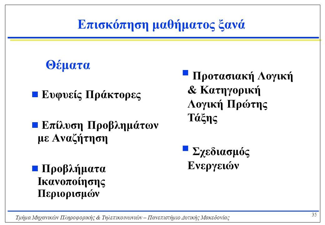 35 Τμήμα Μηχανικών Πληροφορικής & Τηλεπικοινωνιών – Πανεπιστήμιο Δυτικής Μακεδονίας Επισκόπηση μαθήματος ξανά Θέματα  Ευφυείς Πράκτορες  Επίλυση Προ