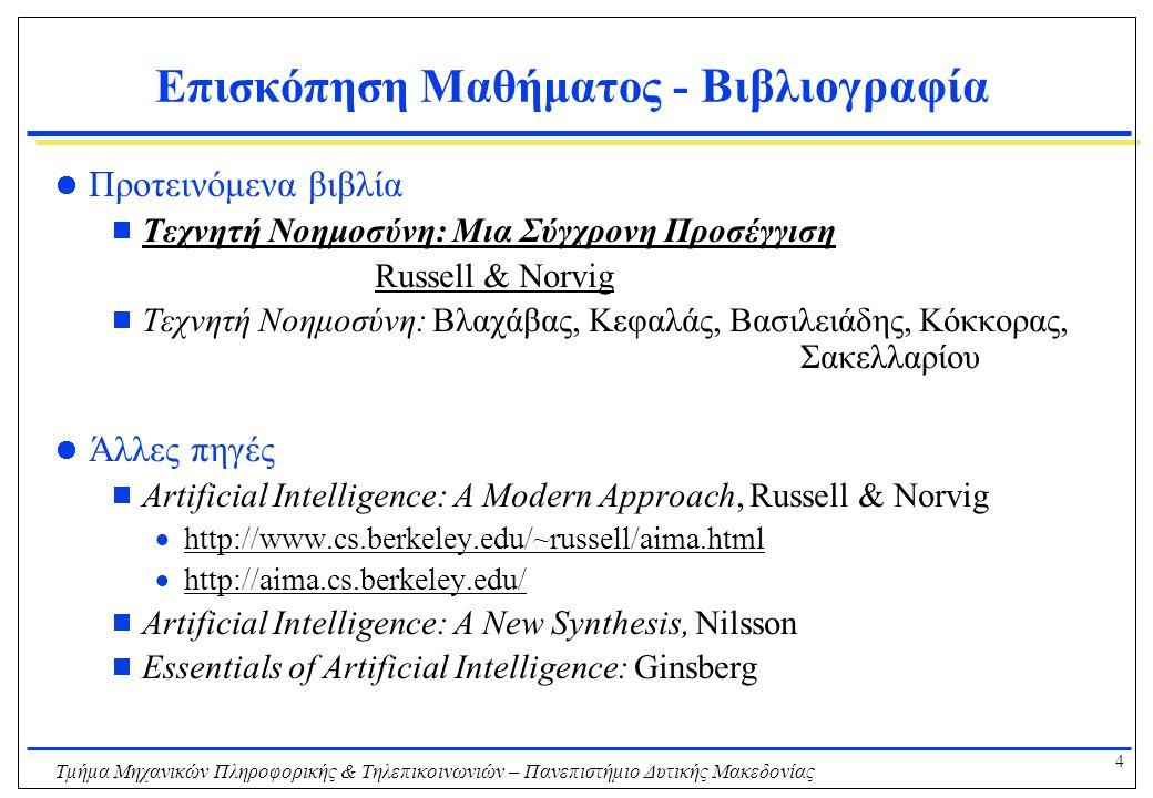 35 Τμήμα Μηχανικών Πληροφορικής & Τηλεπικοινωνιών – Πανεπιστήμιο Δυτικής Μακεδονίας Επισκόπηση μαθήματος ξανά Θέματα  Ευφυείς Πράκτορες  Επίλυση Προβλημάτων με Αναζήτηση  Προβλήματα Ικανοποίησης Περιορισμών  Προτασιακή Λογική & Κατηγορική Λογική Πρώτης Τάξης  Σχεδιασμός Ενεργειών