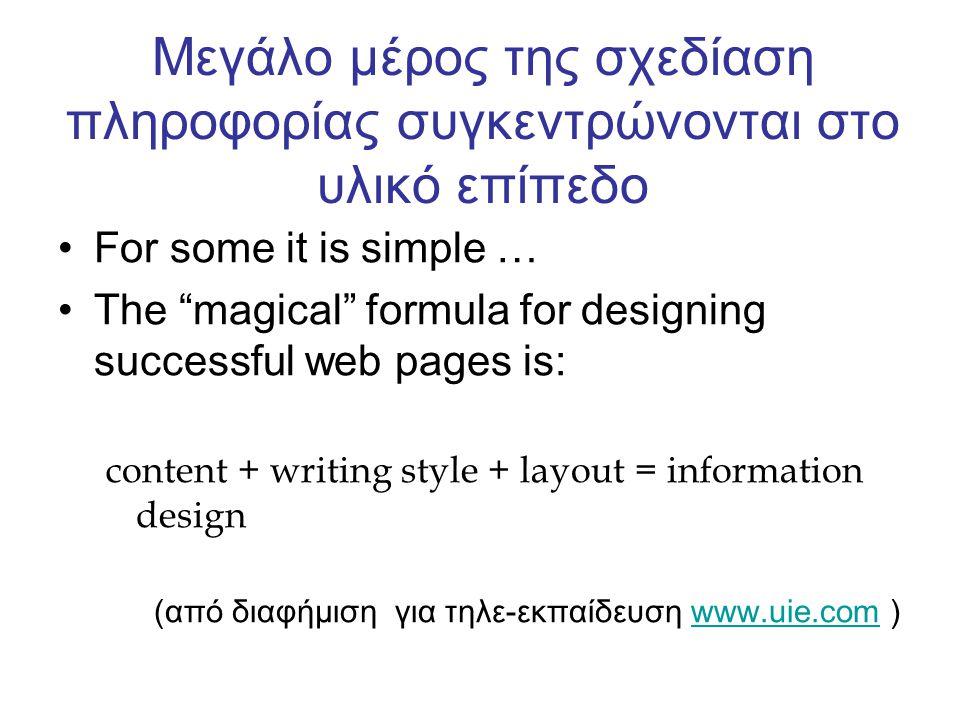 Μεγάλο μέρος της σχεδίαση πληροφορίας συγκεντρώνονται στο υλικό επίπεδο For some it is simple … The magical formula for designing successful web pages is: content + writing style + layout = information design (από διαφήμιση για τηλε-εκπαίδευση www.uie.com )www.uie.com