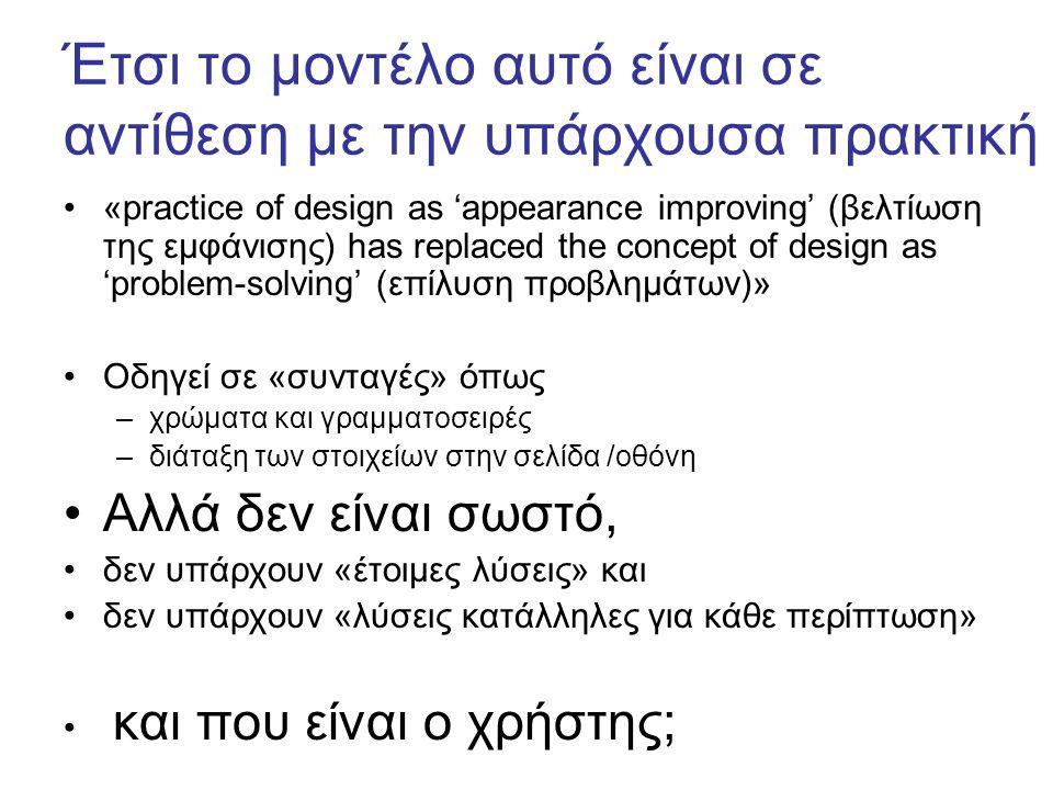 Έτσι το μοντέλο αυτό είναι σε αντίθεση με την υπάρχουσα πρακτική «practice of design as 'appearance improving' (βελτίωση της εμφάνισης) has replaced the concept of design as 'problem-solving' (επίλυση προβλημάτων)» Οδηγεί σε «συνταγές» όπως –χρώματα και γραμματοσειρές –διάταξη των στοιχείων στην σελίδα /οθόνη Αλλά δεν είναι σωστό, δεν υπάρχουν «έτοιμες λύσεις» και δεν υπάρχουν «λύσεις κατάλληλες για κάθε περίπτωση» και που είναι ο χρήστης;