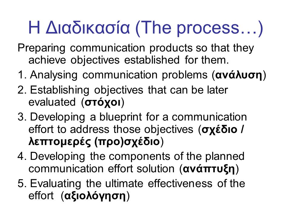 Η Διαδικασία (Τhe process…) Preparing communication products so that they achieve objectives established for them.