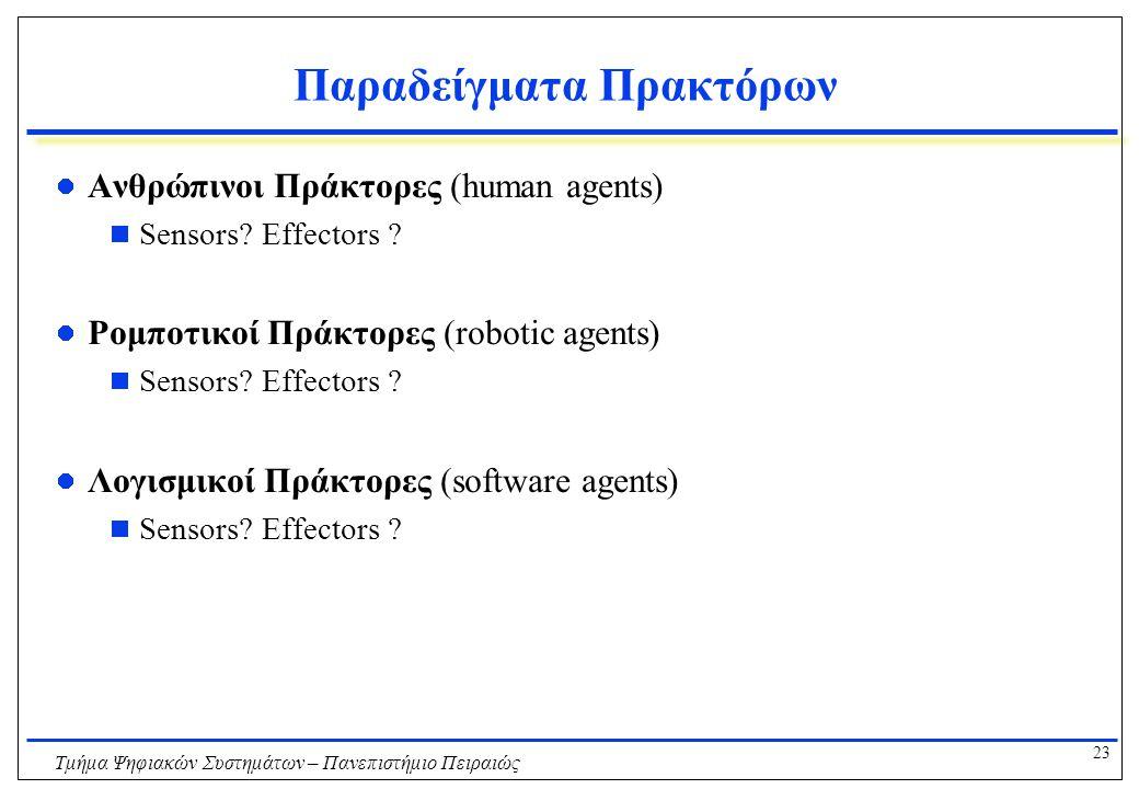 23 Τμήμα Ψηφιακών Συστημάτων – Πανεπιστήμιο Πειραιώς Παραδείγματα Πρακτόρων Ανθρώπινοι Πράκτορες (human agents)  Sensors? Effectors ? Ρομποτικοί Πράκ