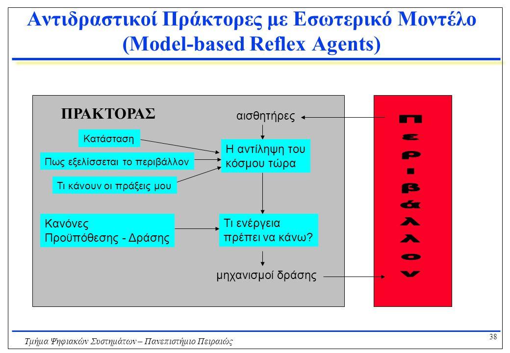 38 Τμήμα Ψηφιακών Συστημάτων – Πανεπιστήμιο Πειραιώς Αντιδραστικοί Πράκτορες με Εσωτερικό Μοντέλο (Model-based Reflex Agents) Η αντίληψη του κόσμου τώρα αισθητήρες Τι ενέργεια πρέπει να κάνω.