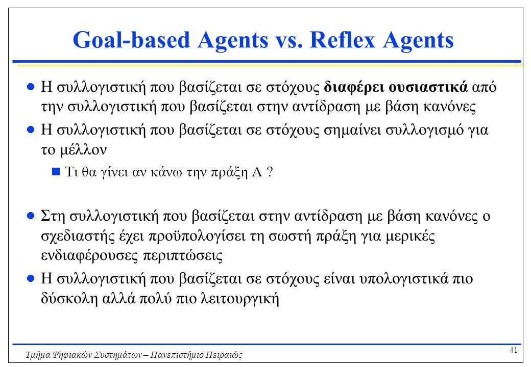 41 Τμήμα Ψηφιακών Συστημάτων – Πανεπιστήμιο Πειραιώς Goal-based Agents vs. Reflex Agents Η συλλογιστική που βασίζεται σε στόχους διαφέρει ουσιαστικά α
