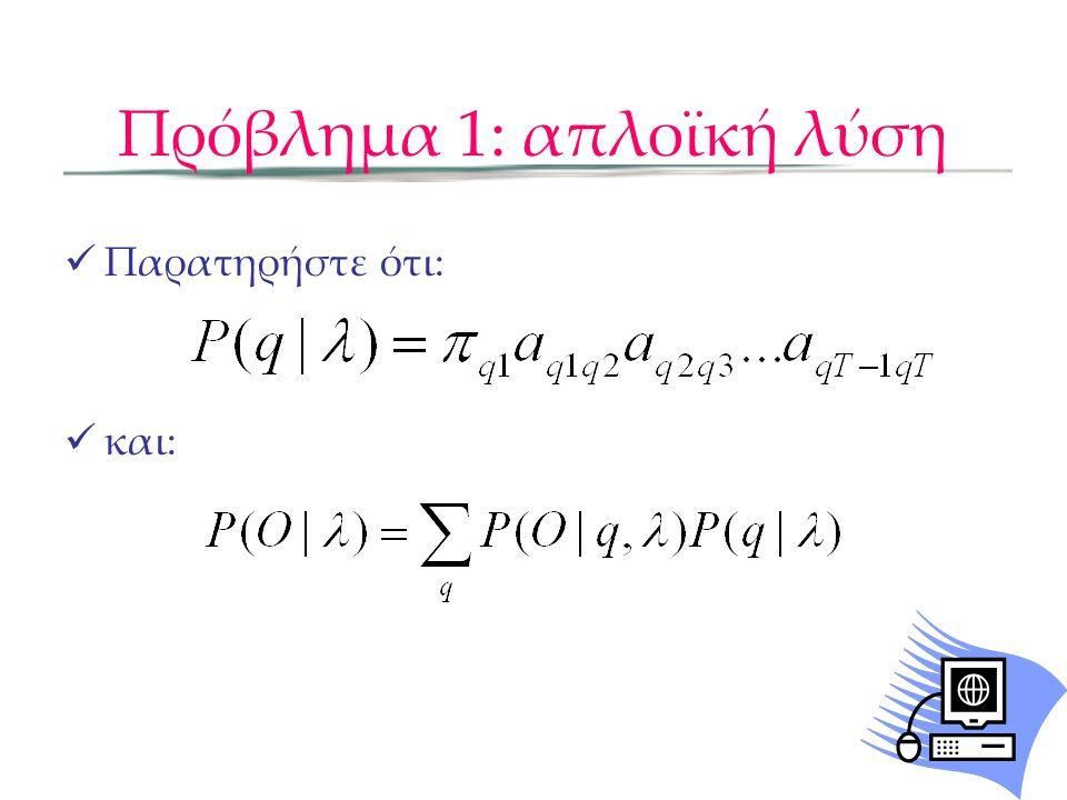 Πρόβλημα 1: απλοϊκή λύση Τελικά: -Το πιο πάνω άθροισμα αφορά όλα τις διαδρομές καταστάσεων -Υπάρχουν N T διαδρομές καταστάσεων, όπου η καθεμία 'κοστίζει' O(T) υπολογισμούς, που δίνει πολυπλοκότητα O(TN T )