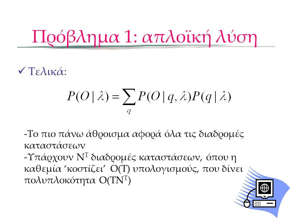 Πρόβλημα 1: Αποτελεσματική λύση Ορίζουμε βοηθητική forward μεταβλητή α: α t (i) είναι η πιθανότητα παρατήρησης της μερικής ακολουθίας των παρατηρήσεων o 1,…o t ώστε τη στιγμή t, η κατάσταση q t =i Forward αλγόριθμος: