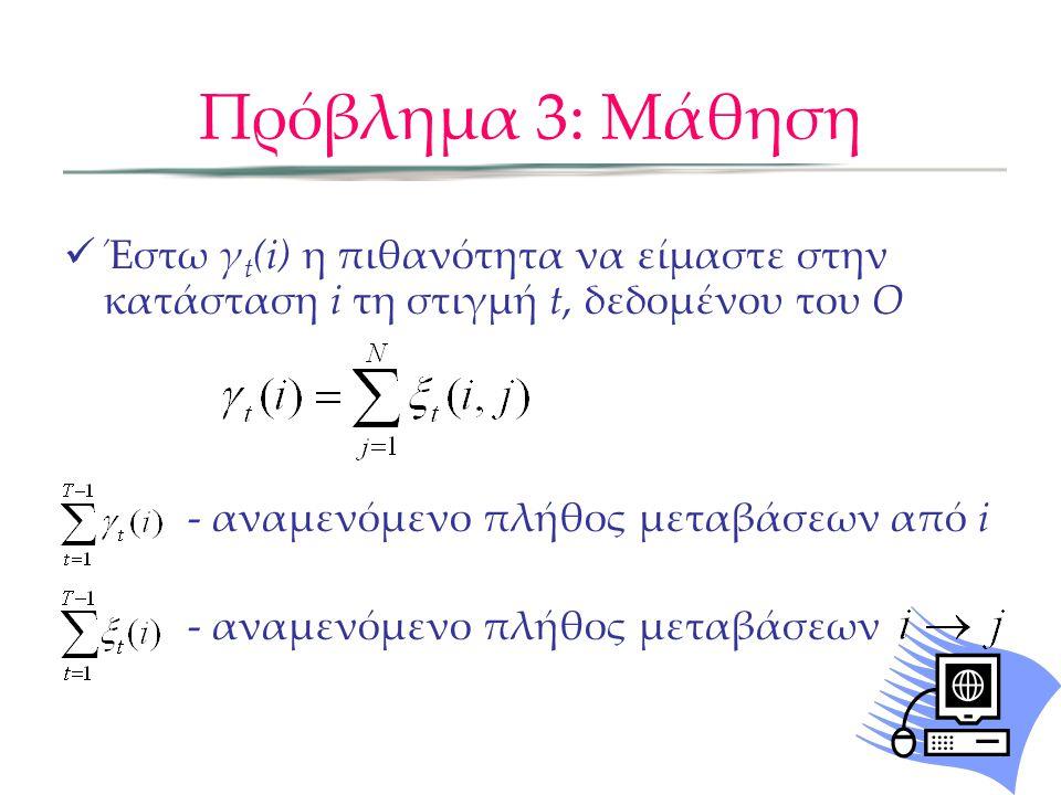 Πρόβλημα 3: Μάθηση αναμενόμενη συχνότητα κατάστασης i για t=1 Αναλογία αναμενομένων μεταβάσεων από την κατάσταση i στην j προς αναμενόμενες μεταβάσεις από i Αναλογία αναμενόμενο πλήθος φορών που στην κατάσταση j παρατηρείται το k προς πλήθος φορών στη j Baum-Welch αλγόριθμος Βήμα 2: