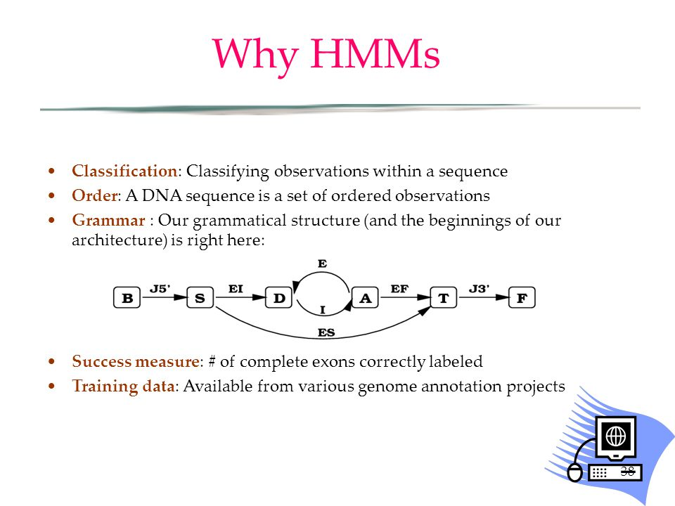 38 Why HMMs Classification: Classifying observations within a sequence Order: A DNA sequence is a set of ordered observations Grammar : Our grammatica