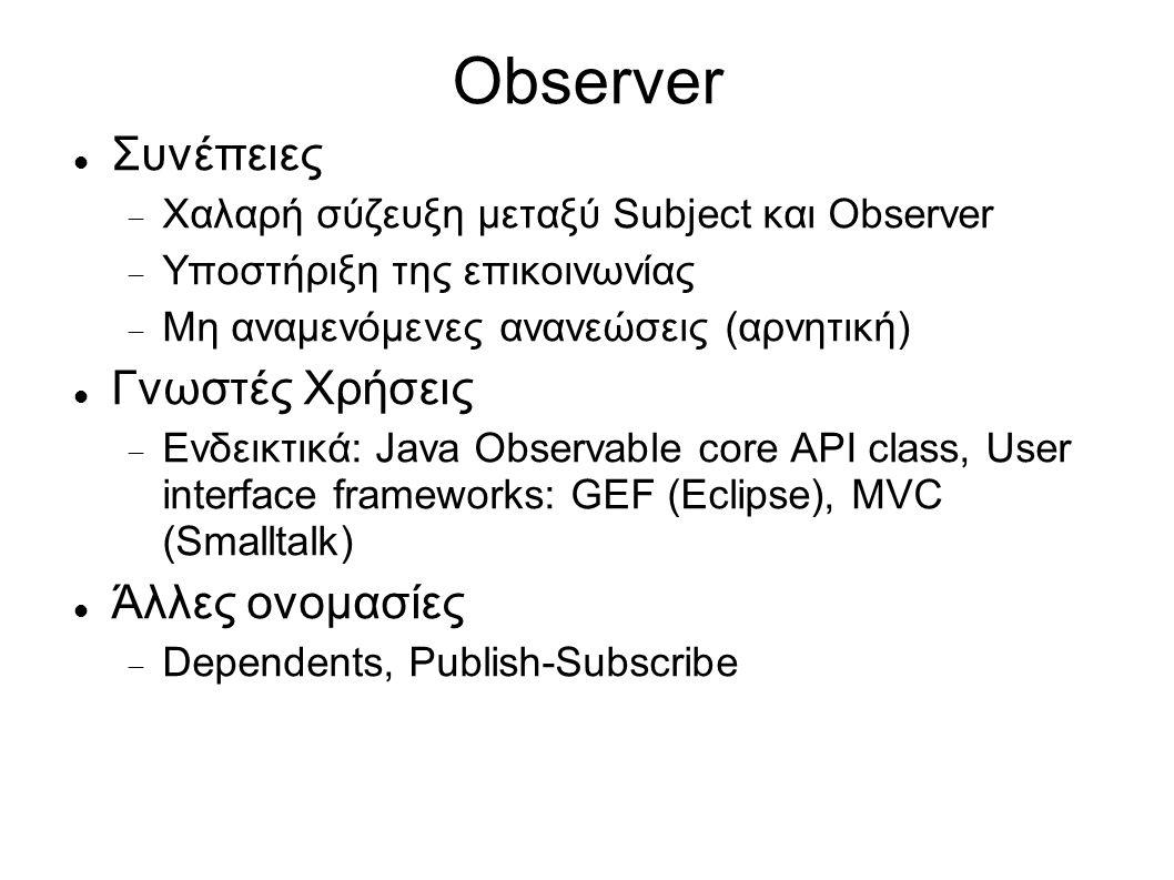 Observer Συνέπειες  Χαλαρή σύζευξη μεταξύ Subject και Observer  Υποστήριξη της επικοινωνίας  Μη αναμενόμενες ανανεώσεις (αρνητική) Γνωστές Χρήσεις  Ενδεικτικά: Java Observable core API class, User interface frameworks: GEF (Eclipse), MVC (Smalltalk) Άλλες ονομασίες  Dependents, Publish-Subscribe