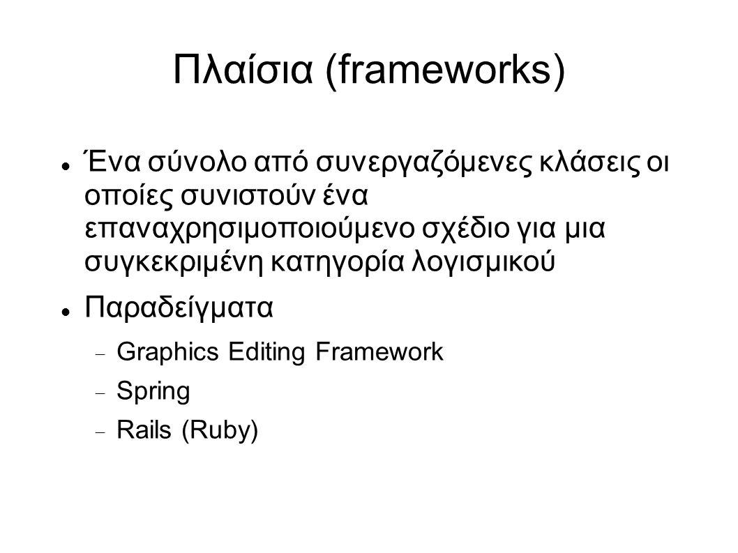 Πλαίσια (frameworks) Ένα σύνολο από συνεργαζόμενες κλάσεις οι οποίες συνιστούν ένα επαναχρησιμοποιούμενο σχέδιο για μια συγκεκριμένη κατηγορία λογισμικού Παραδείγματα  Graphics Editing Framework  Spring  Rails (Ruby)