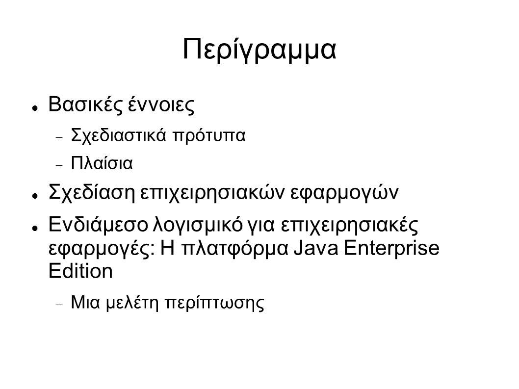 Περίγραμμα Βασικές έννοιες  Σχεδιαστικά πρότυπα  Πλαίσια Σχεδίαση επιχειρησιακών εφαρμογών Ενδιάμεσο λογισμικό για επιχειρησιακές εφαρμογές: Η πλατφόρμα Java Enterprise Edition  Μια μελέτη περίπτωσης
