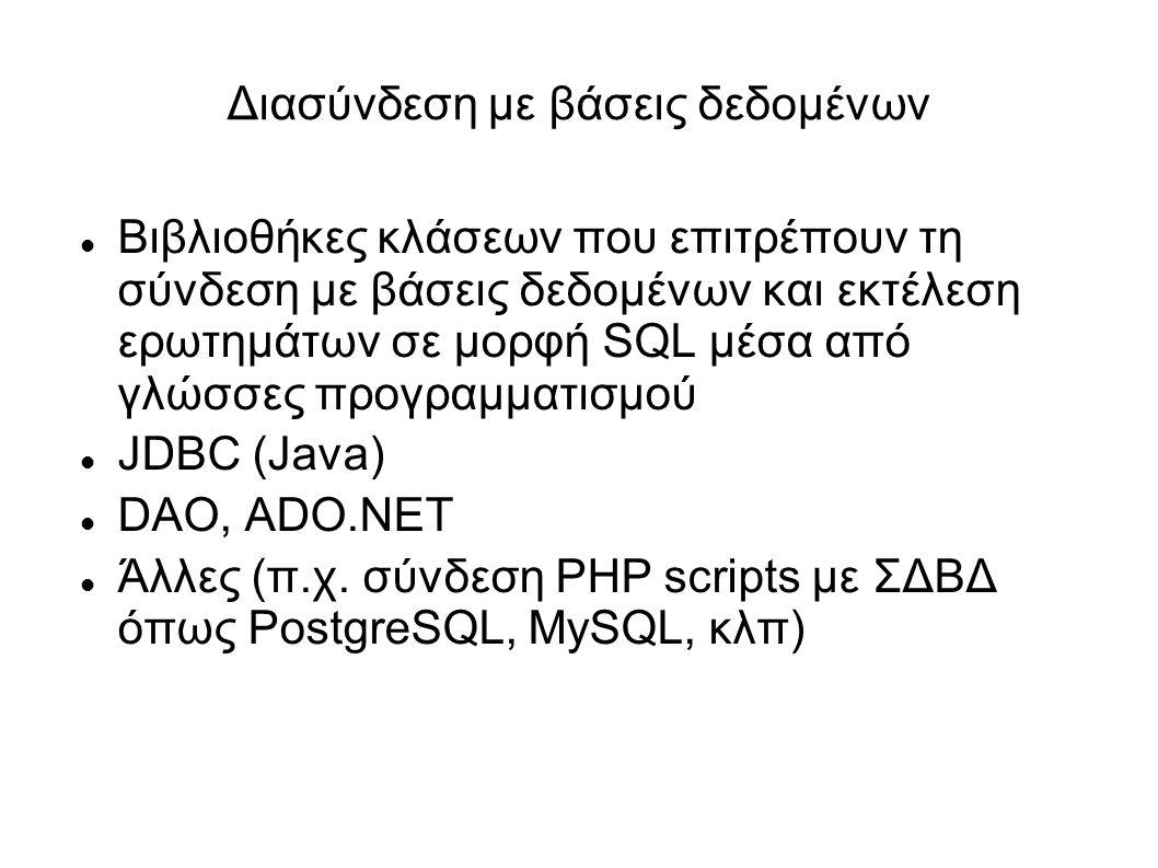 Διασύνδεση με βάσεις δεδομένων Βιβλιοθήκες κλάσεων που επιτρέπουν τη σύνδεση με βάσεις δεδομένων και εκτέλεση ερωτημάτων σε μορφή SQL μέσα από γλώσσες προγραμματισμού JDBC (Java) DAO, ADO.NET Άλλες (π.χ.
