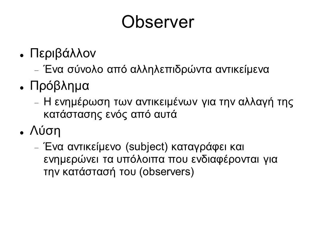 Observer: Δομή Subject attach() detach() notify() Observer > update() * observers * ConcreteObserver observerState update() ConcreteSubject subjectState getState() setState() subject for all o in observers { o.update() } observerState = subject.getState()