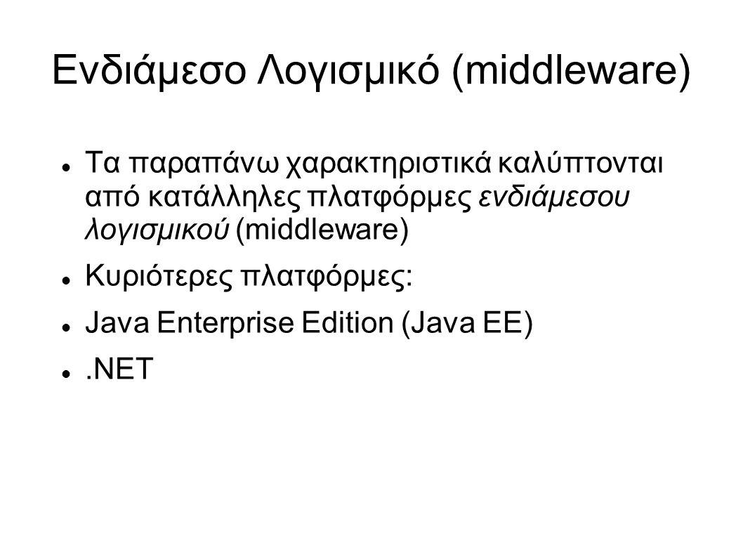 Ενδιάμεσο Λογισμικό (middleware) Τα παραπάνω χαρακτηριστικά καλύπτονται από κατάλληλες πλατφόρμες ενδιάμεσου λογισμικού (middleware) Κυριότερες πλατφόρμες: Java Enterprise Edition (Java EE).NET