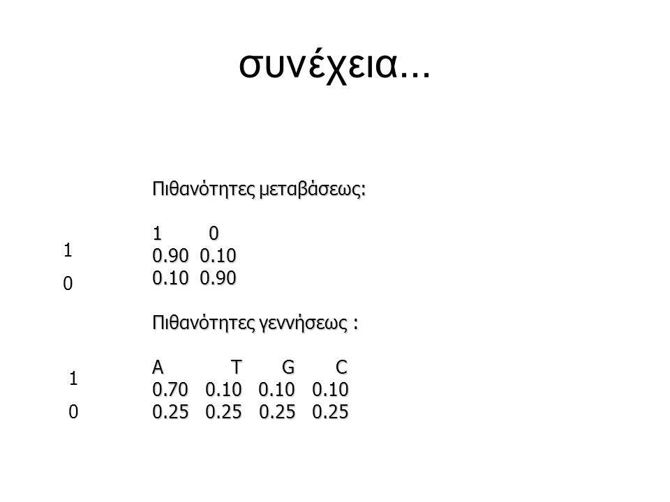 συνέχεια... Πιθανότητες μεταβάσεως: 1 0 0.90 0.10 0.10 0.90 Πιθανότητες γεννήσεως : Α Τ G C 0.70 0.10 0.10 0.10 0.25 0.25 0.25 0.25 1010 1010