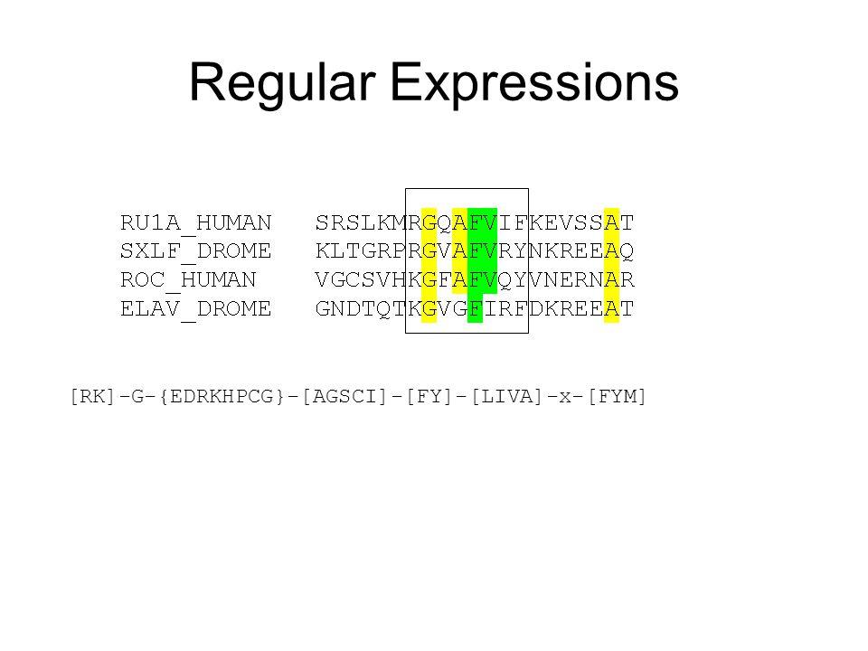 Regular Expressions [RK]-G-{EDRKHPCG}-[AGSCI]-[FY]-[LIVA]-x-[FYM]