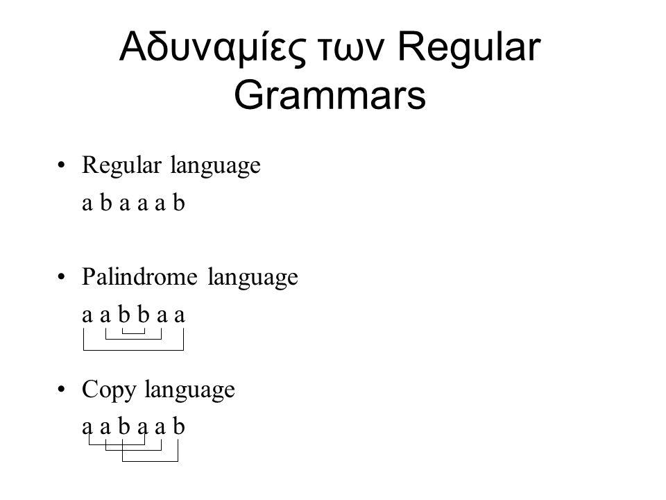 Αδυναμίες των Regular Grammars Regular language a b a a a b Palindrome language a a b b a a Copy language a a b