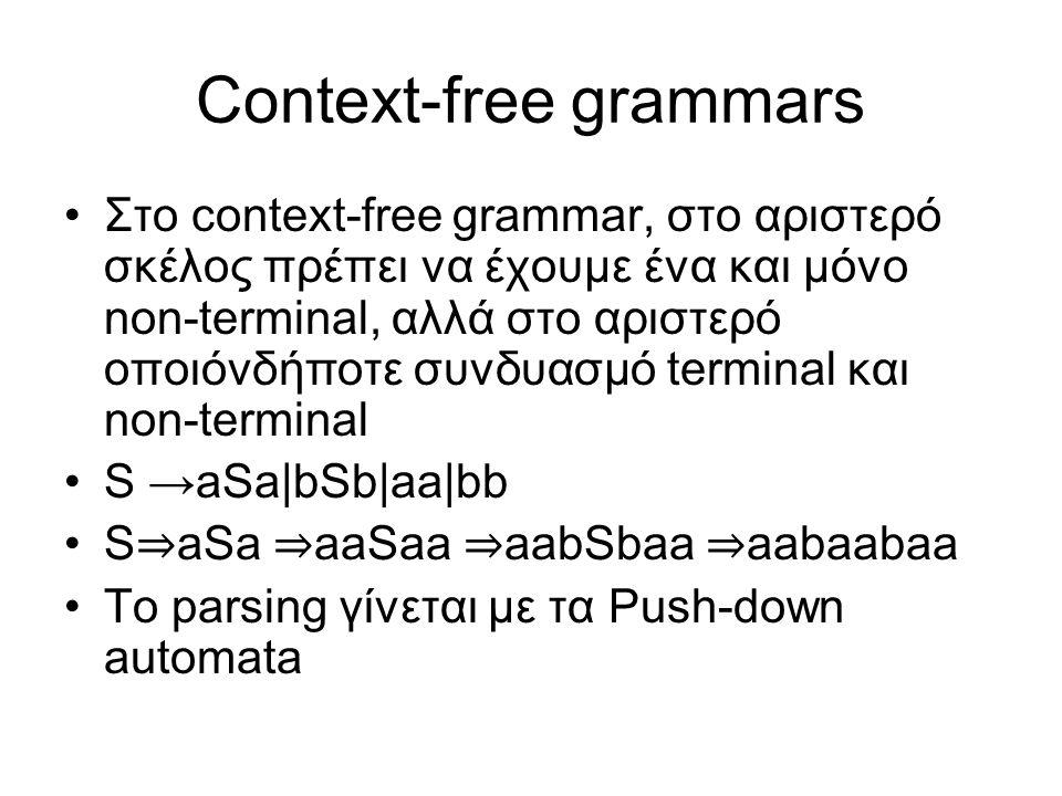 Context-free grammars Στο context-free grammar, στο αριστερό σκέλος πρέπει να έχουμε ένα και μόνο non-terminal, αλλά στο αριστερό οποιόνδήποτε συνδυασ