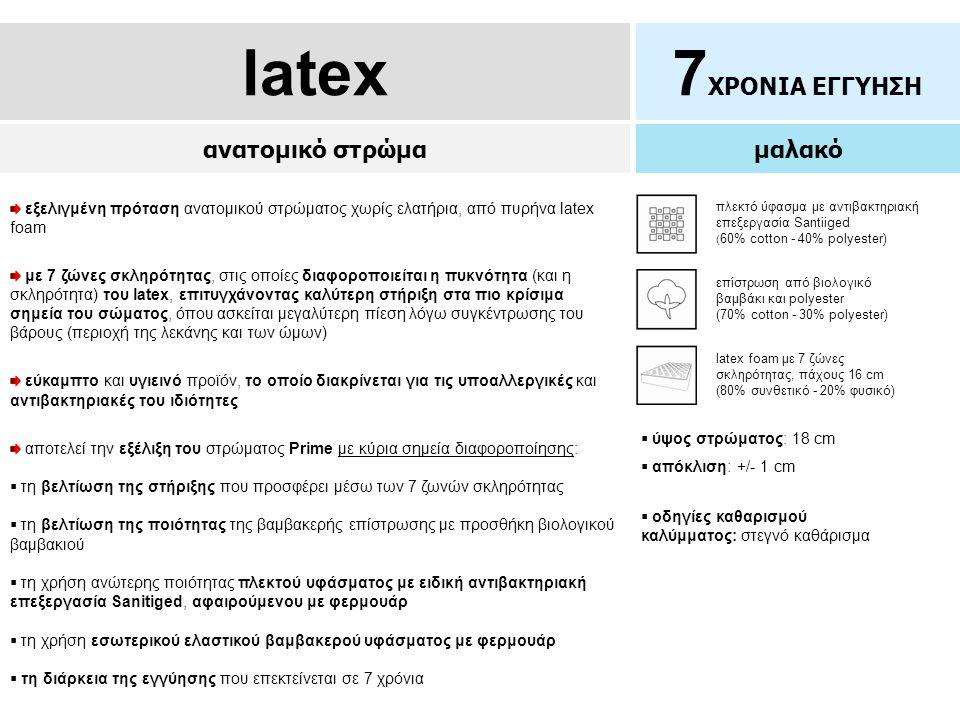 latex7 ΧΡΟΝΙΑ ΕΓΓΥΗΣΗ ανατομικό στρώμα μαλακό  ύψος στρώματος: 18 cm  απόκλιση: +/- 1 cm εξελιγμένη πρόταση ανατομικού στρώματος χωρίς ελατήρια, από