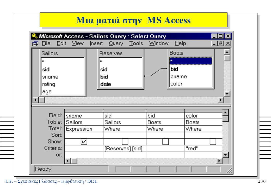 Ι.Β. – Σχεσιακές Γλώσσες – Εμφύτευση / DDL230 Μια ματιά στην MS Access