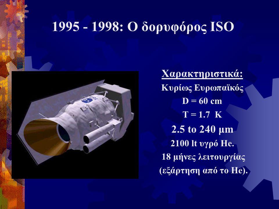 1995 - 1998: Ο δορυφόρος ISO Χαρακτηριστικά: Κυρίως Ευρωπαϊκός D = 60 cm T = 1.7 K 2.5 to 240 μm 2100 lt υγρό He. 18 μήνες λειτουργίας (εξάρτηση από τ