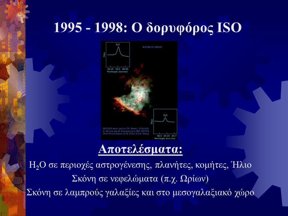 Αποτελέσματα: Η 2 Ο σε περιοχές αστρογένεσης, πλανήτες, κομήτες, Ήλιο Σκόνη σε νεφελώματα (π.χ. Ωρίων) Σκόνη σε λαμπρούς γαλαξίες και στο μεσογαλαξιακ