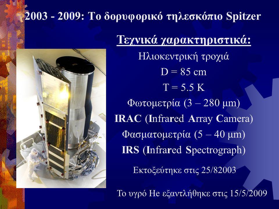Τεχνικά χαρακτηριστικά: Ηλιοκεντρική τροχιά D = 85 cm T = 5.5 K Φωτομετρία (3 – 280 μm) IRAC (Infrared Array Camera) Φασματομετρία (5 – 40 μm) IRS (In