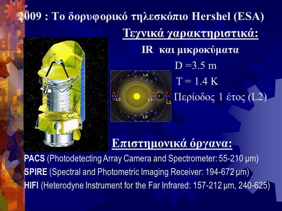 Τεχνικά χαρακτηριστικά: IR και μικροκύματα D =3.5 m T = 1.4 K Περίοδος 1 έτος (L2) 2009 : Το δορυφορικό τηλεσκόπιο Hershel (ESA) Επιστημονικά όργανα: