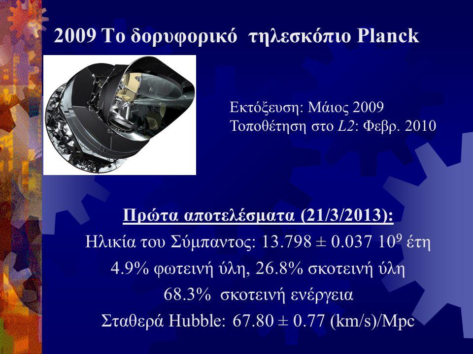 Πρώτα αποτελέσματα (21/3/2013): Ηλικία του Σύμπαντος: 13.798 ± 0.037 10 9 έτη 4.9% φωτεινή ύλη, 26.8% σκοτεινή ύλη 68.3% σκοτεινή ενέργεια Σταθερά Hub