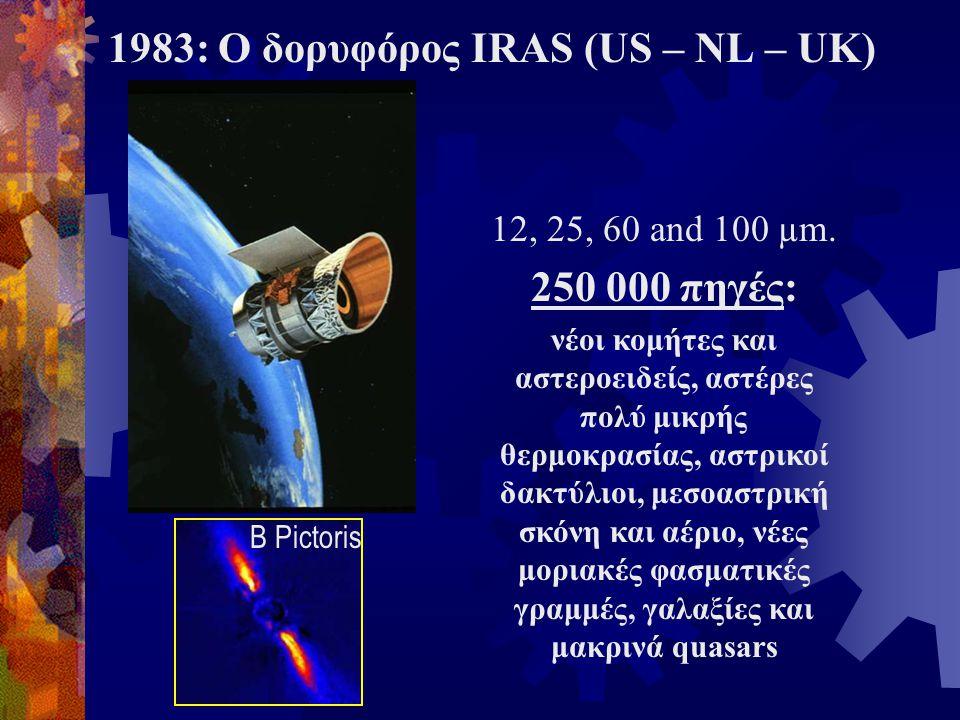 1983: Ο δορυφόρος IRAS (US – NL – UK) 12, 25, 60 and 100 µm. 250 000 πηγές: νέοι κομήτες και αστεροειδείς, αστέρες πολύ μικρής θερμοκρασίας, αστρικοί