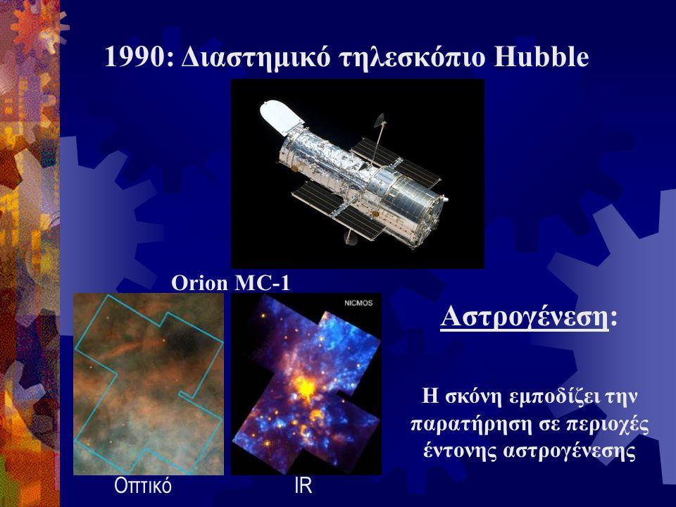 1990: Διαστημικό τηλεσκόπιο Hubble Αστρογένεση: Η σκόνη εμποδίζει την παρατήρηση σε περιοχές έντονης αστρογένεσης ΟπτικόIR Orion MC-1
