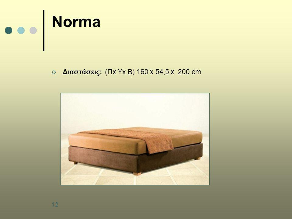 12 Norma Διαστάσεις: (Πx Υx B) 160 x 54,5 x 200 cm
