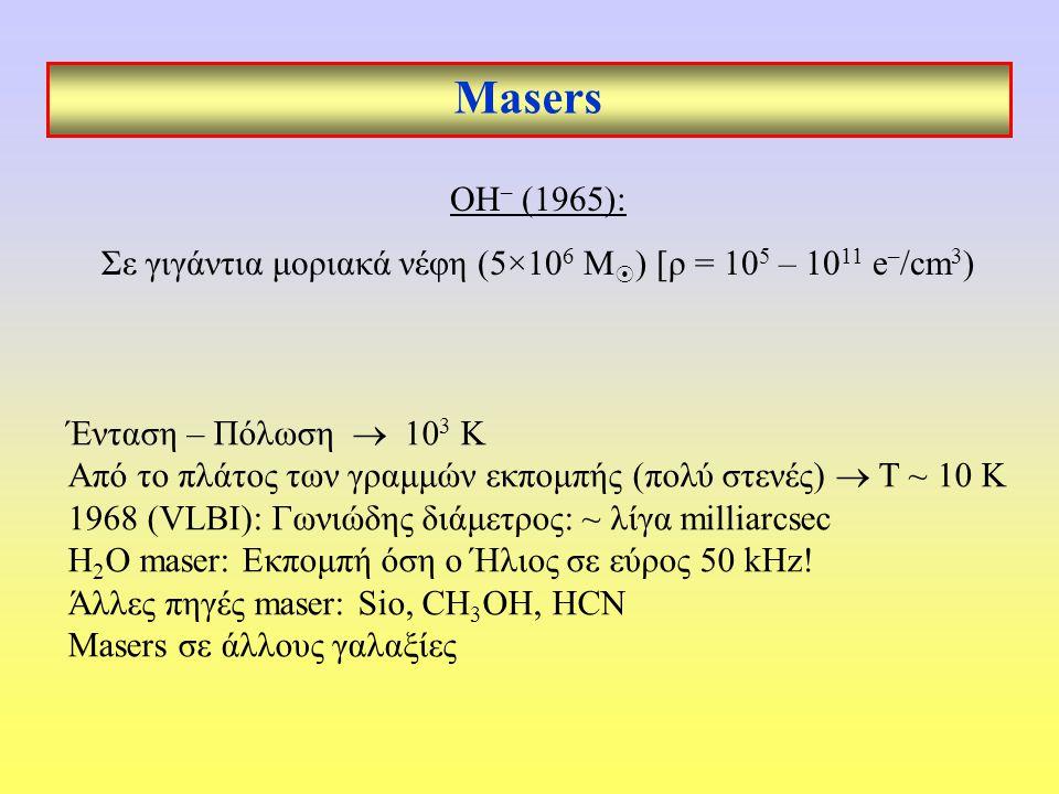 Masers Ένταση – Πόλωση  10 3 Κ Από το πλάτος των γραμμών εκπομπής (πολύ στενές)  Τ ~ 10 Κ 1968 (VLBI): Γωνιώδης διάμετρος: ~ λίγα milliarcsec H 2 O maser: Εκπομπή όση ο Ήλιος σε εύρος 50 kHz.