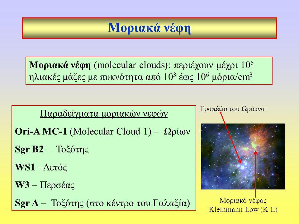 Μοριακά νέφη Μοριακά νέφη (molecular clouds): περιέχουν μέχρι 10 6 ηλιακές μάζες με πυκνότητα από 10 3 έως 10 6 μόρια/cm 3 Παραδείγματα μοριακών νεφών Ori-A MC-1 (Molecular Cloud 1) – Ωρίων Sgr B2 – Τοξότης WS1 –Αετός W3 – Περσέας Sgr A – Τοξότης (στο κέντρο του Γαλαξία) Τραπέζιο του Ωρίωνα Μοριακό νέφος Kleinmann-Low (K-L)