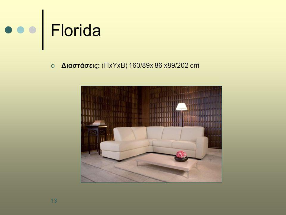 13 Florida Διαστάσεις: (ΠxYxB) 160/89x 86 x89/202 cm