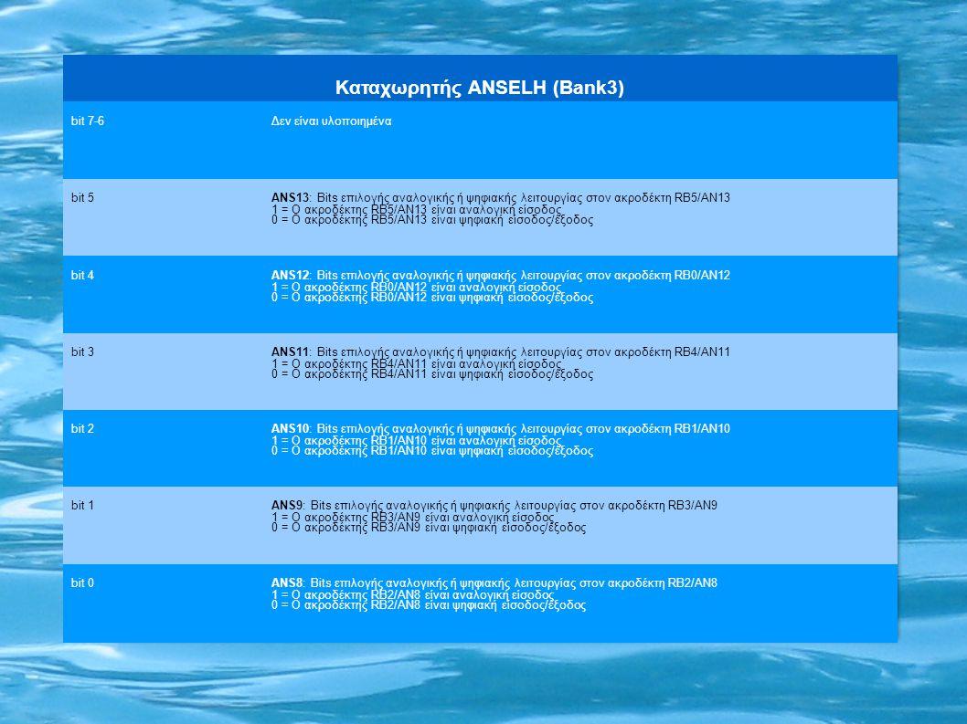 Καταχωρητής ANSELH (Bank3) bit 7-6Δεν είναι υλοποιημένα bit 5 ANS13: Bits επιλογής αναλογικής ή ψηφιακής λειτουργίας στον ακροδέκτη RΒ5/AN13 1 = Ο ακροδέκτης RΒ5/AN13 είναι αναλογική είσοδος 0 = Ο ακροδέκτης RΒ5/AN13 είναι ψηφιακή είσοδος/έξοδος bit 4 ANS12: Bits επιλογής αναλογικής ή ψηφιακής λειτουργίας στον ακροδέκτη RΒ0/AN12 1 = Ο ακροδέκτης RΒ0/AN12 είναι αναλογική είσοδος 0 = Ο ακροδέκτης RΒ0/AN12 είναι ψηφιακή είσοδος/έξοδος bit 3 ANS11: Bits επιλογής αναλογικής ή ψηφιακής λειτουργίας στον ακροδέκτη RΒ4/AN11 1 = Ο ακροδέκτης RΒ4/AN11 είναι αναλογική είσοδος 0 = Ο ακροδέκτης RΒ4/AN11 είναι ψηφιακή είσοδος/έξοδος bit 2 ANS10: Bits επιλογής αναλογικής ή ψηφιακής λειτουργίας στον ακροδέκτη RΒ1/AN10 1 = Ο ακροδέκτης RΒ1/AN10 είναι αναλογική είσοδος 0 = Ο ακροδέκτης RΒ1/AN10 είναι ψηφιακή είσοδος/έξοδος bit 1 ANS9: Bits επιλογής αναλογικής ή ψηφιακής λειτουργίας στον ακροδέκτη RΒ3/AN9 1 = Ο ακροδέκτης RΒ3/AN9 είναι αναλογική είσοδος 0 = Ο ακροδέκτης RΒ3/AN9 είναι ψηφιακή είσοδος/έξοδος bit 0ANS8: Bits επιλογής αναλογικής ή ψηφιακής λειτουργίας στον ακροδέκτη RΒ2/AN8 1 = Ο ακροδέκτης RΒ2/AN8 είναι αναλογική είσοδος 0 = Ο ακροδέκτης RΒ2/AN8 είναι ψηφιακή είσοδος/έξοδος